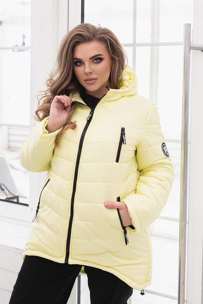 Зимняя стильная куртка-пуховик, лимон/светло-желтый цвета, арт. 300 Батал