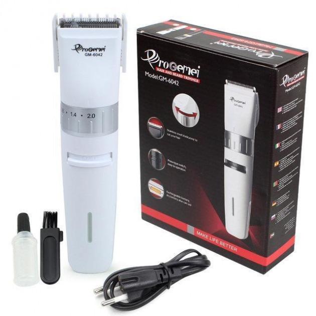Машинка для стрижки волос аккумуляторная Gemei GM-6042 White