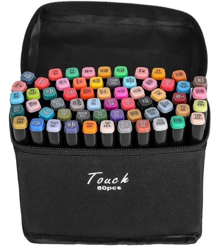 Набор 60 цветов, качественных двусторонних маркеров Touch для рисования и скетчинга на спиртовой основе