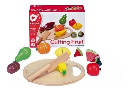Игровой набор Classic world деревянные фрукты с ножом