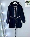 Платье - худи из трехнитки на флисе теплое с поясом и капюшоном 52plt1972, фото 2