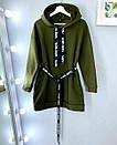 Платье - худи из трехнитки на флисе теплое с поясом и капюшоном 52plt1972, фото 3