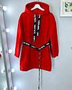 Платье - худи из трехнитки на флисе теплое с поясом и капюшоном 52plt1972, фото 5