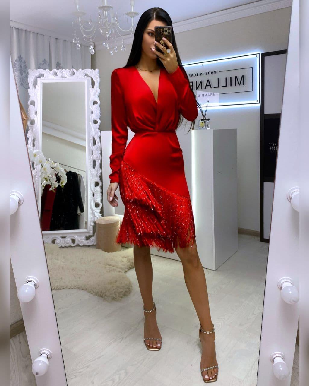 Платье шелковое коктельное с верхом на запах и низом с бахромой нарядное (р. 42, 44) 20plt1974