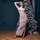 Платье вечернее нарядное с одним рукавом и глубоким разрезом на ноге длиной макси (р. S-М) 4plt1982, фото 3