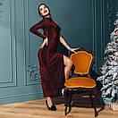 Платье вечернее нарядное с одним рукавом и глубоким разрезом на ноге длиной макси (р. S-М) 4plt1982, фото 5