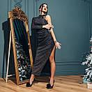 Платье вечернее нарядное с одним рукавом и глубоким разрезом на ноге длиной макси (р. S-М) 4plt1982, фото 6
