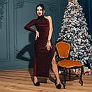 Платье вечернее нарядное с одним рукавом и глубоким разрезом на ноге длиной макси (р. S-М) 4plt1982, фото 8