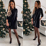 Платье женское короткое свободно кроя цвета: черный, малиновый, бежевый, пудровый, фото 2