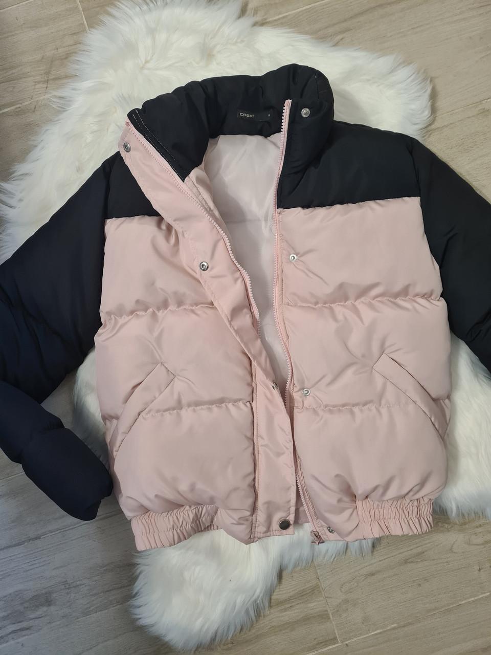 Женская куртка - пуховик короткая теплая двухцветная на резинке снизу (р. 42-46) 79kur554