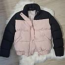 Женская куртка - пуховик короткая теплая двухцветная на резинке снизу (р. 42-46) 79kur554, фото 4