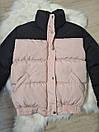 Женская куртка - пуховик короткая теплая двухцветная на резинке снизу (р. 42-46) 79kur554, фото 6