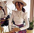 Кофта женская из трикотажа рубчик с воланами на плечах и пуговицами (р. 42-44) 48ddet1059, фото 7