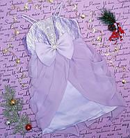 Детское нарядное платье с бантом на рост 98-122, сиреневое
