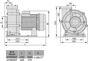 AquaViva LX WTB400T/ZWE400T 80 м3/ч (380В) насос для бассейна - водопада - фонтана, фото 3