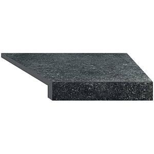 Угловой элемент бортовой плитки Aquaviva Granito Black, Г-образный, 595x345x50(20) правая/45°