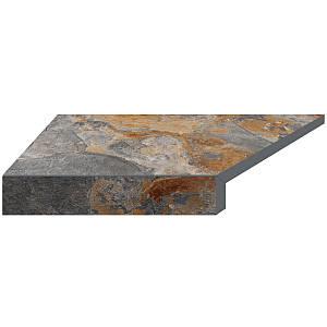 Кутовий елемент бортовий плитки Aquaviva Ardesia loft, Г-подібний, 595x345x50(20) ліва/45°