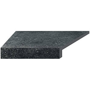 Кутовий елемент бортовий плитки Aquaviva Granito Black, Г-подібний, 595x345x50(20) ліва/45°
