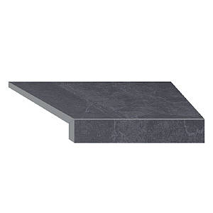 Кутовий елемент бортовий плитки Aquaviva Ardesia Black Г-подібний, 595x345x50(20) права/45°
