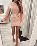 Платье женское  вечернее короткое цвет : персиковый , черный, фото 2