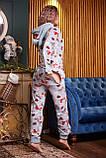 Пижама комбинезон с карманом (вырезом) на попе теплая фиолетовая новогодняя, фото 2