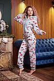 Пижама комбинезон с карманом (вырезом) на попе теплая фиолетовая новогодняя, фото 3