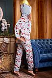 Пижама комбинезон с карманом (вырезом) на попе теплая фиолетовая новогодняя, фото 4