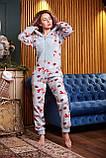 Пижама комбинезон с карманом (вырезом) на попе теплая фиолетовая новогодняя, фото 5
