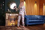 Пижама комбинезон с карманом (вырезом) на попе теплая фиолетовая новогодняя, фото 7