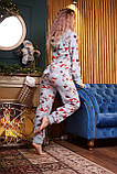 Пижама комбинезон с карманом (вырезом) на попе теплая фиолетовая новогодняя, фото 8