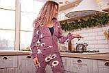 Пижама комбинезон с карманом (вырезом) на попе теплая фиолетовая с альпаками, фото 4