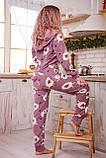 Пижама комбинезон с карманом (вырезом) на попе теплая фиолетовая с альпаками, фото 5