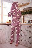 Пижама комбинезон с карманом (вырезом) на попе теплая фиолетовая с альпаками, фото 2