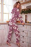 Пижама комбинезон с карманом (вырезом) на попе теплая фиолетовая с альпаками, фото 6