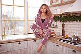 Пижама комбинезон с карманом (вырезом) на попе теплая фиолетовая с альпаками, фото 3