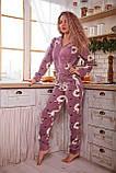 Пижама комбинезон с карманом (вырезом) на попе теплая фиолетовая с альпаками, фото 8