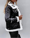 Дублена женская короткая чёрная из эко кожи с эко мехом, фото 3