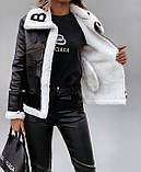 Дублена женская короткая чёрная из эко кожи с эко мехом, фото 5