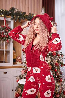 Пижама комбинезон с карманом (вырезом) на попе теплая красная с альпаками