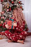 Пижама комбинезон с карманом (вырезом) на попе теплая красная новогодняя, фото 5