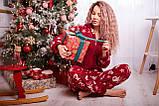 Пижама комбинезон с карманом (вырезом) на попе теплая красная новогодняя, фото 6