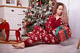 Пижама комбинезон с карманом (вырезом) на попе теплая красная новогодняя, фото 7