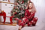 Пижама комбинезон с карманом (вырезом) на попе теплая красная новогодняя, фото 2