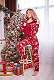 Пижама комбинезон с карманом (вырезом) на попе теплая красная новогодняя, фото 10