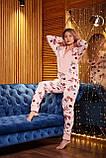 Пижама комбинезон с карманом (вырезом) на попе теплая розовая новогодняя, фото 7