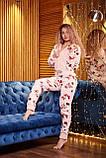 Пижама комбинезон с карманом (вырезом) на попе теплая розовая новогодняя, фото 5