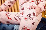 Пижама комбинезон с карманом (вырезом) на попе теплая розовая новогодняя, фото 6