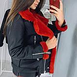 Дубленка женская из эко кожи с красным эко мехом короткая, фото 2