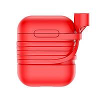 Силиконовый чехол с шнурком Baseus Silicone Case для Apple AirPods Red AL2899, КОД: 1131100