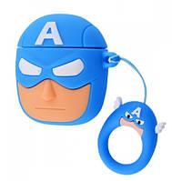 Чехол Grand Marvel x DC Case для AirPods Captain America, КОД: 1326812